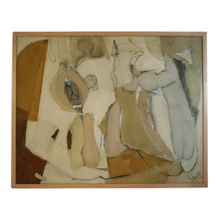 Vintage Mid-Century Shire Abstract Mixed Media Painting For Sale