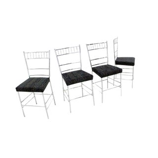 Set of Four Mid-Century Modern Faux Bamboo Chrome Dining Chairs For Sale