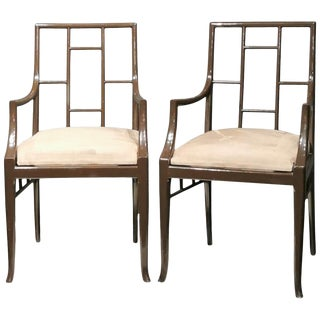"""Pair of Dark Grey """"Chinoiserie"""" Armchairs by Maison Jansen, France 1970s For Sale"""
