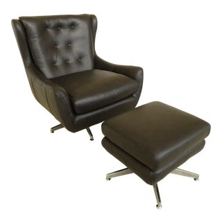 Maitland Smith Modern Design Leather Chair & Ottoman - a Pair For Sale