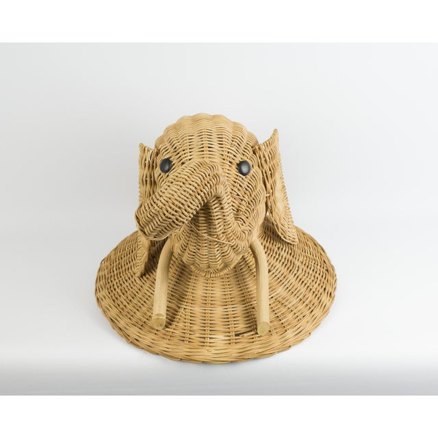 1970s 1970s Boho Chic Wicker Elephant Faux Taxidermy Wall Hanging For Sale - Image 5 of 9