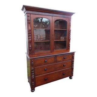 1800s Empire 2 Part Breakfront China Display Cabinet Cupboard For Sale