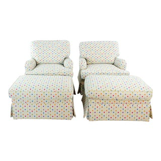 Upholstered Armchairs and Ottoman Sets- 4 Pieces For Sale