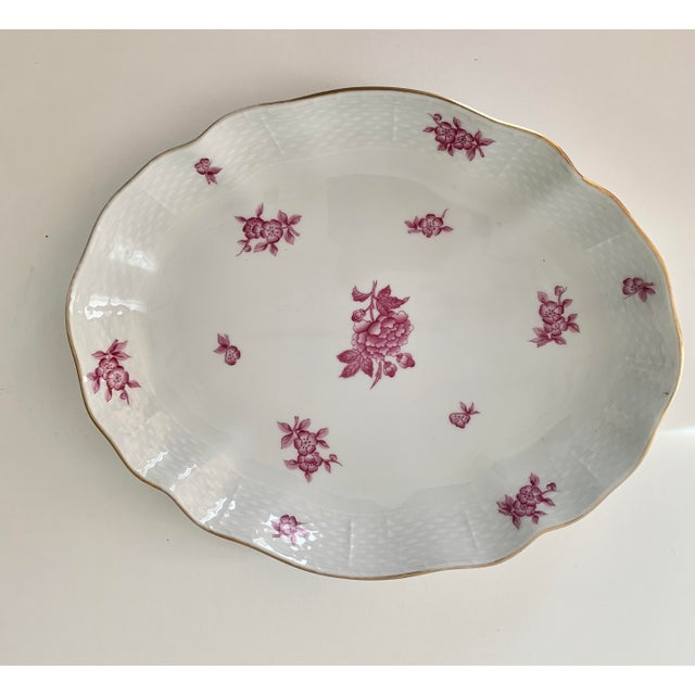 Hollywood Regency Vintage Herend Chinese Bouquet Raspberry Oval Plate For Sale - Image 3 of 4