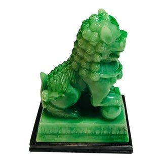 Late Twentieth Century Green Foo Dog Statue For Sale