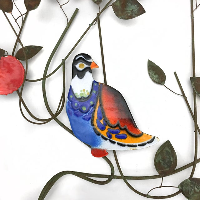 Mid-Century Modern C. Jeré Bird in a Tree Enameled Wall Sculpture For Sale - Image 3 of 6