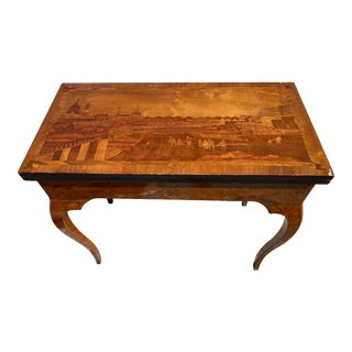 18th Century Burl Wood and Inlay Game Card Table For Sale