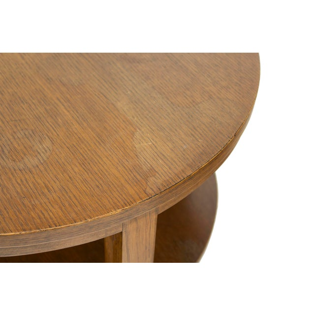 Brown Round Combed Oak End Tables by Grand Rapids Bookcase & Chair For Sale - Image 8 of 11