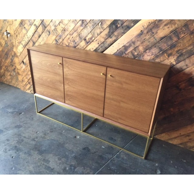 Brown Custom Handmade Walnut Brass Base Credenza For Sale - Image 8 of 9