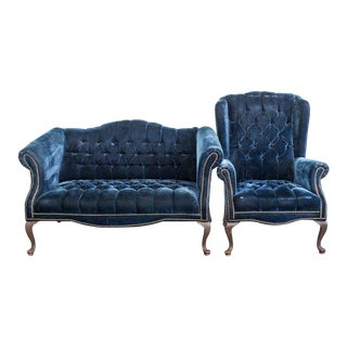 1950s Vintage Navy Tufted Sofa & Side Chair For Sale