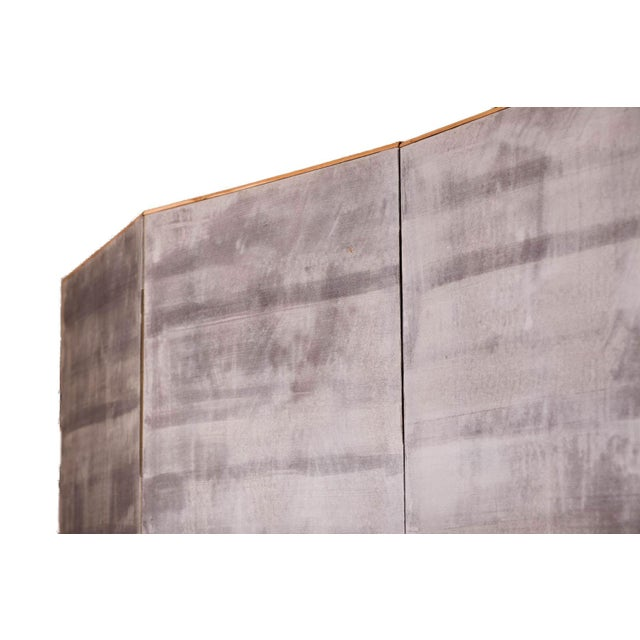 """Sung Tze-Chin Large Chinoiserie Hanging Screen Ink on Paper """"Brushed Wood Fence With Chrysanthemum"""" 11 Feet Wide by 6 Feet Height For Sale - Image 10 of 11"""