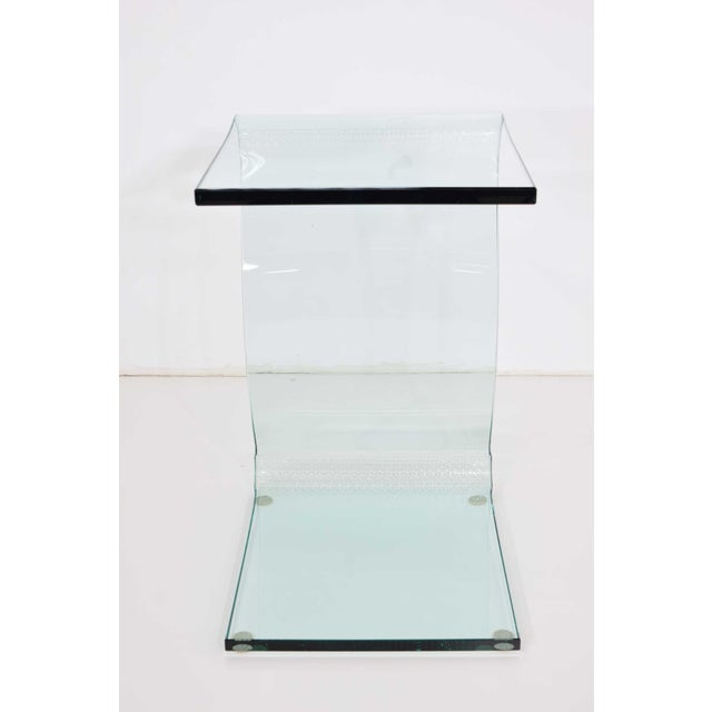 Contemporary L. Fife Signed Glass Side Table For Sale - Image 3 of 12