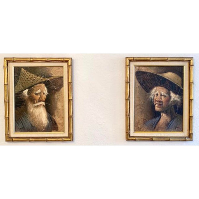 Vintage Mid Century Modern Oil on Tobacco Leaf Portrait Paintings - a Pair For Sale - Image 4 of 4