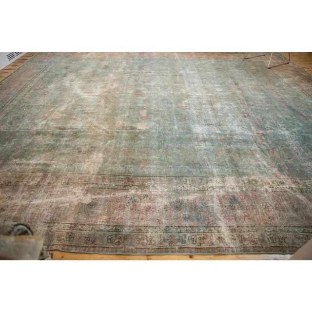 """Vintage Distressed Tabriz Square Carpet - 11'10"""" X 13'11"""" For Sale - Image 9 of 13"""