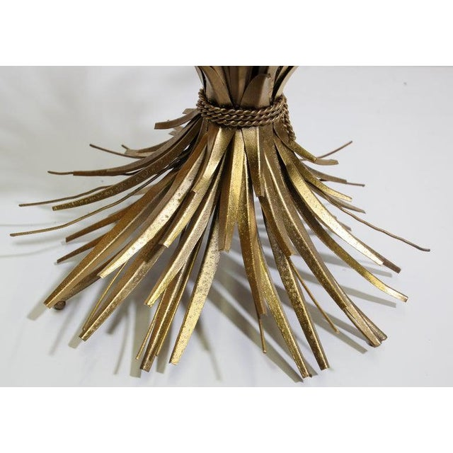 Glass Vintage French Metal Sheaf of Wheat Side Table with Glass Top For Sale - Image 7 of 10