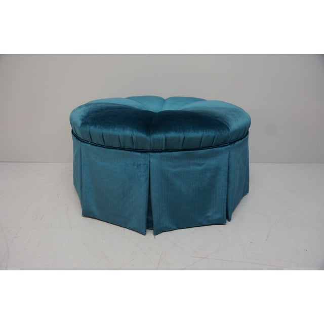1990s Vintage Deep Blue Velvet Skirted Ottoman For Sale - Image 4 of 4