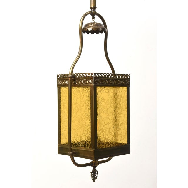 Gold Victorian Harp Lantern with Amber Glass For Sale - Image 8 of 11