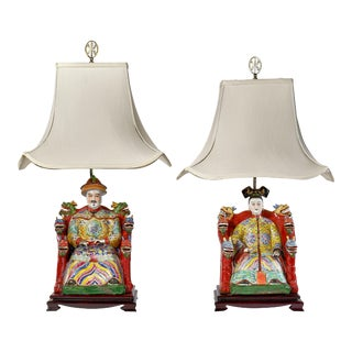 Chinese Emperor and Emperoress Table Lamps - a Pair For Sale