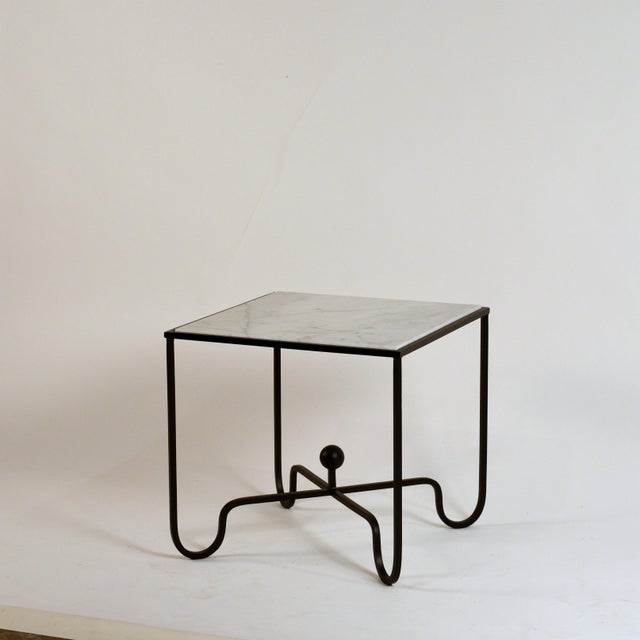 DESIGN FRERES 'Entretoise' Wrought Iron and Honed Marble Side Tables by Design Frères - a Pair For Sale - Image 4 of 8