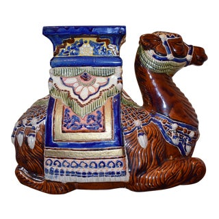 1960s Chinoiserie Ceramic Camel Garden Stool For Sale