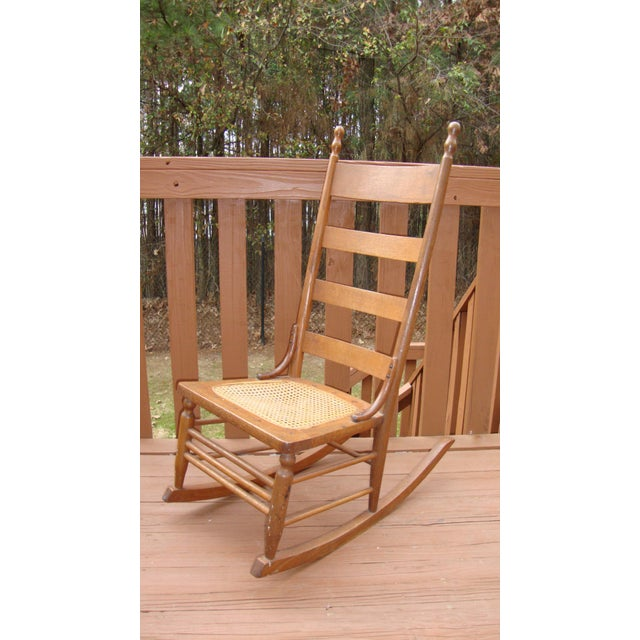 Antique 18th C. Early American Ladderback Rocker Chair For Sale - Image 4 of 11