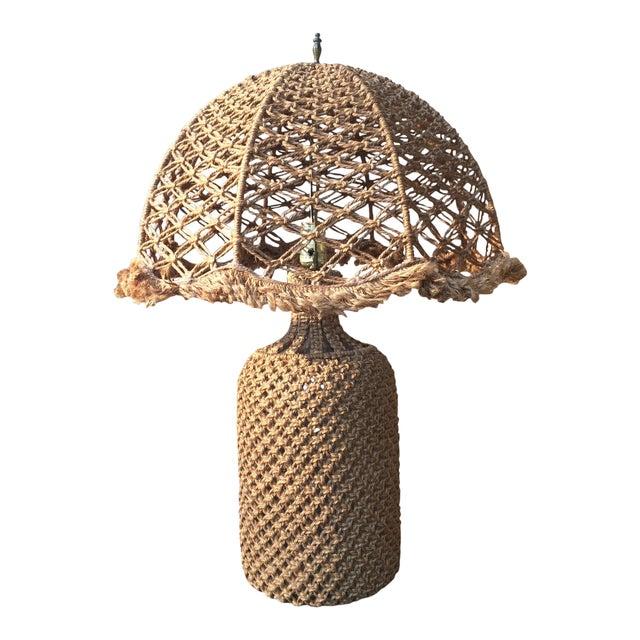 Woven Organic Fiber Table Lamp For Sale