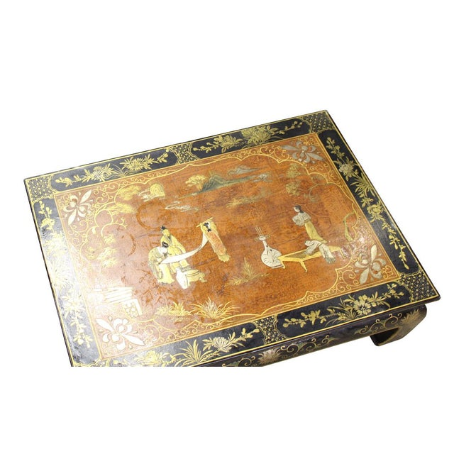 This is small craw legs table / stand with rustic pattern brown lacquer base color. The surface is painted with golden...