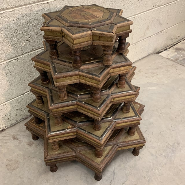 Boho Chic Vintage Moroccan Star Stacking Tables For Sale - Image 3 of 12