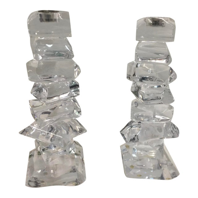 Lucite Candlesticks Stacked Ice Blocks Mid Century Modern For Sale