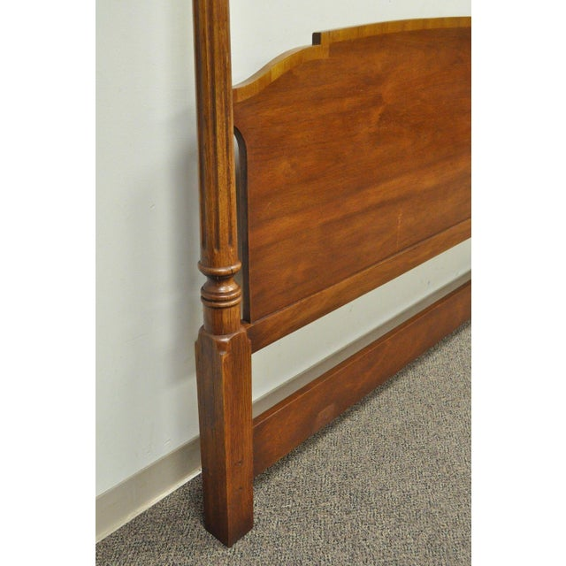 Brown Vintage Drexel Federal Style Banded Mahogany King Size Headboard Poster Bed D For Sale - Image 8 of 11