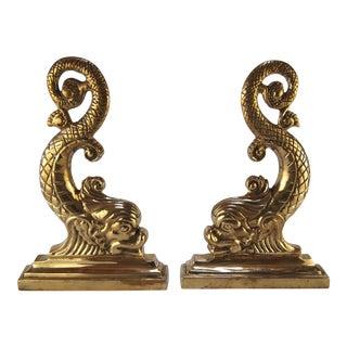 Brass Dolphin Andiron