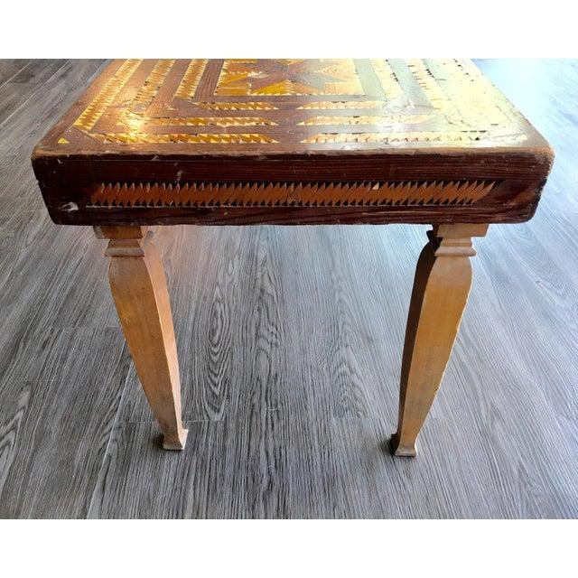 Vintage Folk Art Wood Inlay Bench - Image 6 of 8