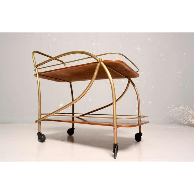 Brazilian Rosewood Double Deck Service Cart For Sale - Image 4 of 10