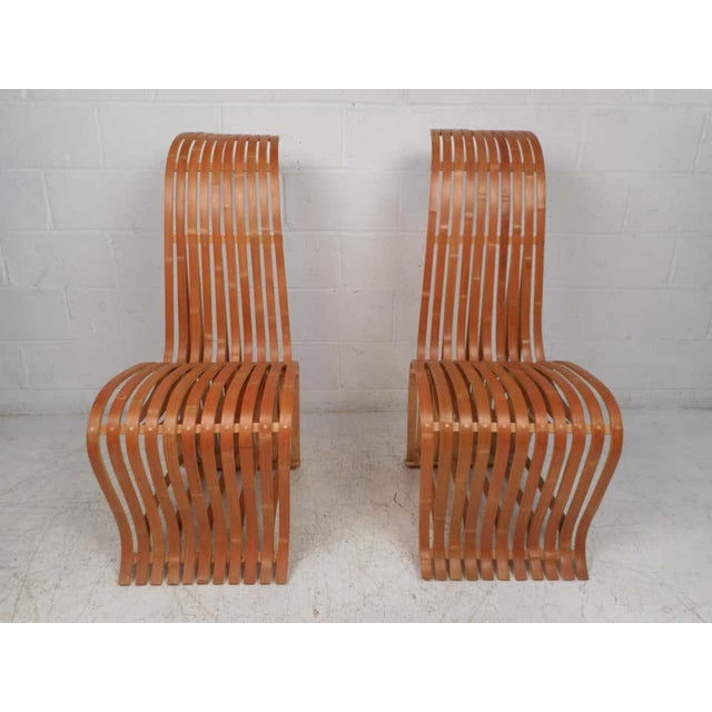 Modern Pair of Vintage Wood-Slat Chairs For Sale - Image 3 of 11