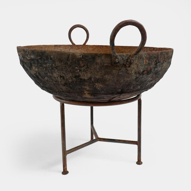 Authentic hand crafted iron Kadai fire bowl or planter. Originally used as Indian cooking basins. These iron bowls are...