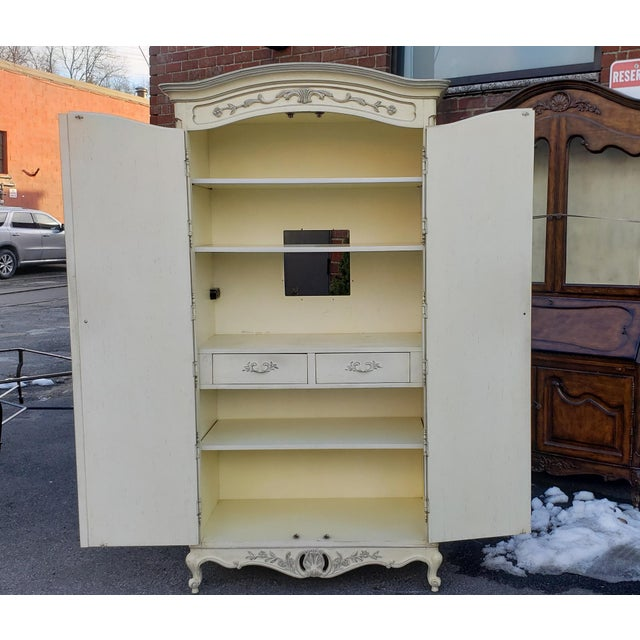 Paint Painted White Century Furniture French Provincial Double Door Bedroom Tv Armoire Cabinet C1990s For Sale - Image 7 of 12