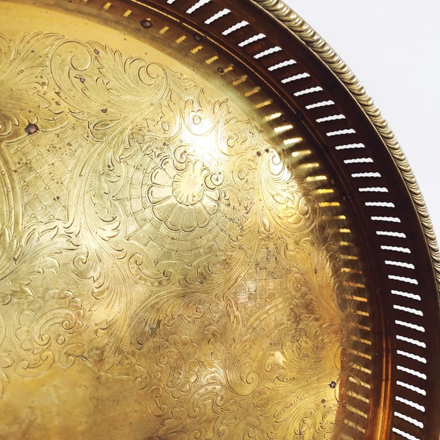 Vintage Engraved Brass Circular Tray For Sale - Image 4 of 8