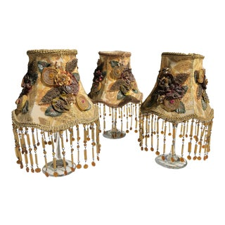 Vintage Lace & Beaded Chandelier Lamp Shades, Art Deco Style, Clip-On - Set of 3 For Sale