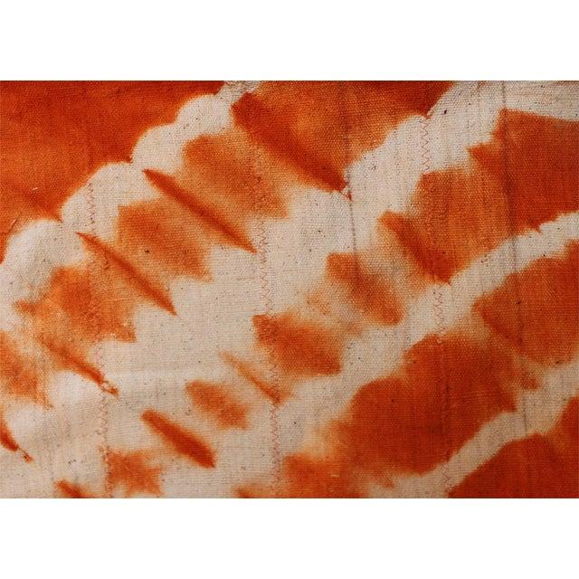 Tangerine Orange Mud Cloth Textile For Sale - Image 4 of 4