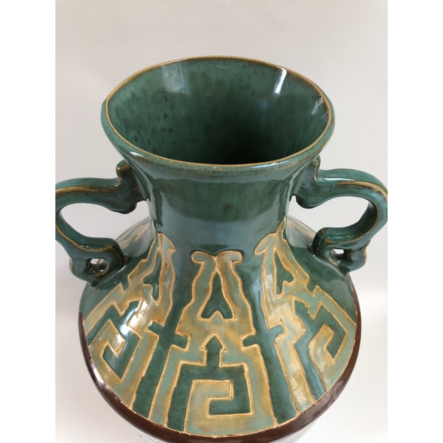 1970s Tall Green Vintage Ming Horses Decorative Vase For Sale - Image 5 of 8