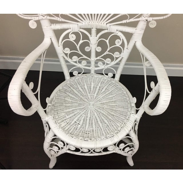 White Early 20th Century Antique White Wicker Chair For Sale - Image 8 of 12