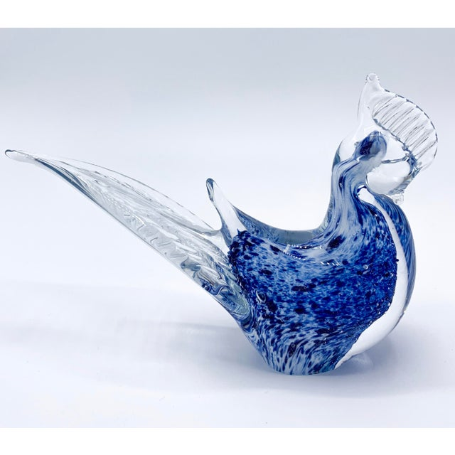 Blue Aventurine Venetian Murano Glass Bird Paperweight For Sale - Image 9 of 9