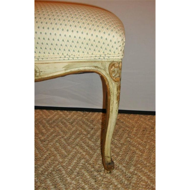 Textile French Carved and Painted Stools with Gilt - A Pair For Sale - Image 7 of 8