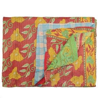 Vintage Pink Kantha Quilt For Sale