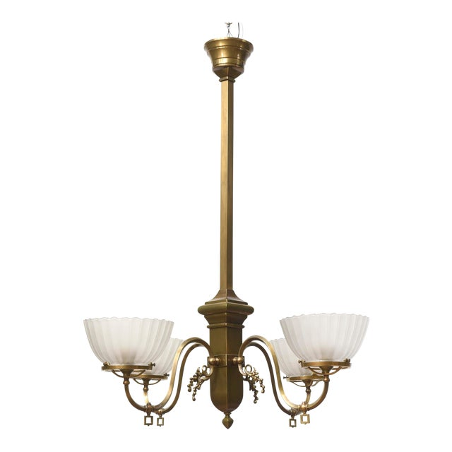 Four Arm Brass Gas Chandelier For Sale