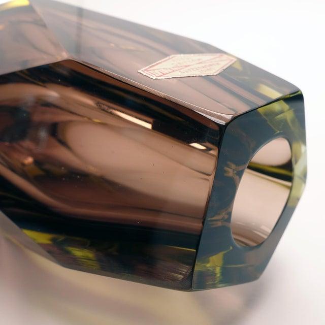 Art Glass 1960s Vintage Luigi Mandruzzato Pentagonal Amethyst Diamond Cut Block Vase For Sale - Image 7 of 12