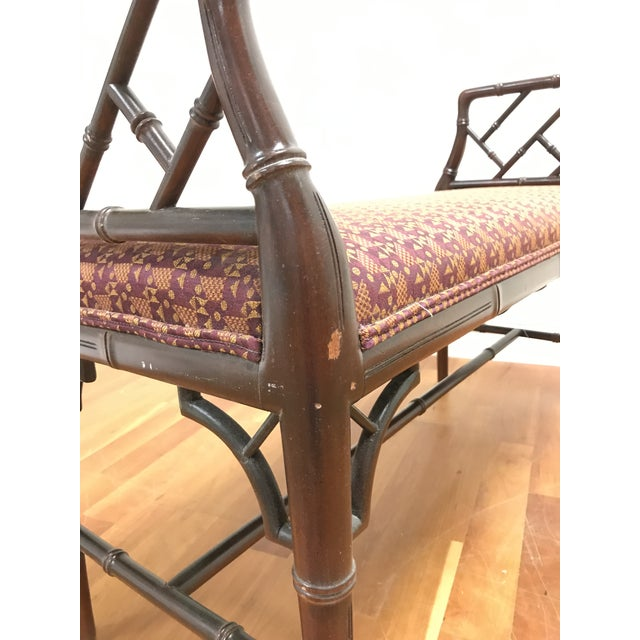 Thomas Chippendale Chinese Chippendale Style Faux Bamboo Fretwork Window Bench For Sale - Image 4 of 6