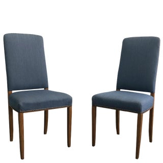 20th Century C. Malmsten Gustavian Blue Upholstered Chairs - a Pair For Sale
