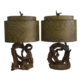 1950s Driftwood Lamps - A Pair For Sale
