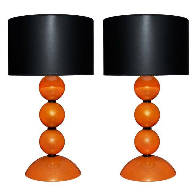 Orange Murano Glass Lamps For Sale